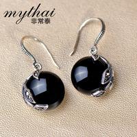 Very Thai 925 Sterling Silver Black Onyx earrings natural stone of longevity Joker fashion trends Korean jewelry earrings