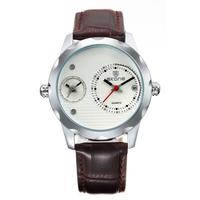 Fashion Brand Of SKONE Dual Time Zone Leather Watch Men's Casual Sport Quartz Watch