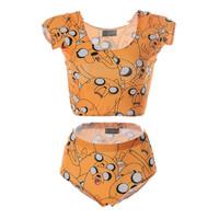 Crop Top + Bottom Swimwear Tankini Swimsuits Women Brand Design Adventure Time Jake Yellow Sexy Sport Tops S125-182