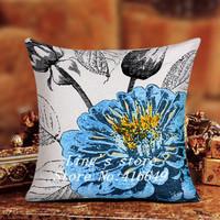 New 45*45cm Blue butterflies printing Double Jacquard Technology sofa cushion cover set pillowcases seat  cushions home decor