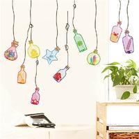 2014 Lovely Home Decoration wall stickers  Children room bedroom kindergarten background decoration of  ocean bottles