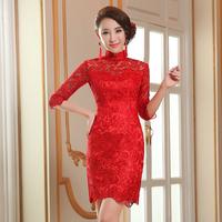 New 2014 Red Elegant Femal Formal Dress Bride Long Design Fashion Formal Cheongsam Style Women Dress Autumn Winter Close-fitting