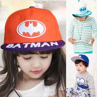 Retail 2014 new  Children stunning Batman flat brimmed baseball cap the New Listing children cute hats  Boys and girls cap