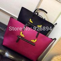 New design casual fashion brand spoof devil eyes fashion PU leather bag lady handbag shoulder across body messenger bag