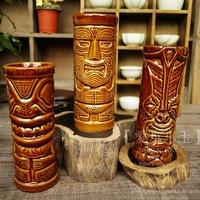 Popular Collection Bar Furnishing Article Tiki Cup Hawaii Creative Home Decoration Maori Totem Ceramic Cocktail Mug Holiday Gift