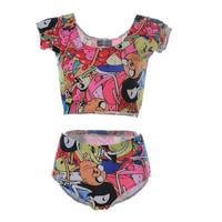 Sexy Tankinis Set Swimwear Tankini Swimsuits Women Bathing Suit ADVENTURE TIME BRO BALL Sexy Sport Crop Tops S125-180