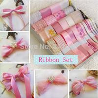 Pink ribbon set 30meters Diy hair accessory kit hand made child hair clips material kit set bundle printed ribbons Bow handmade