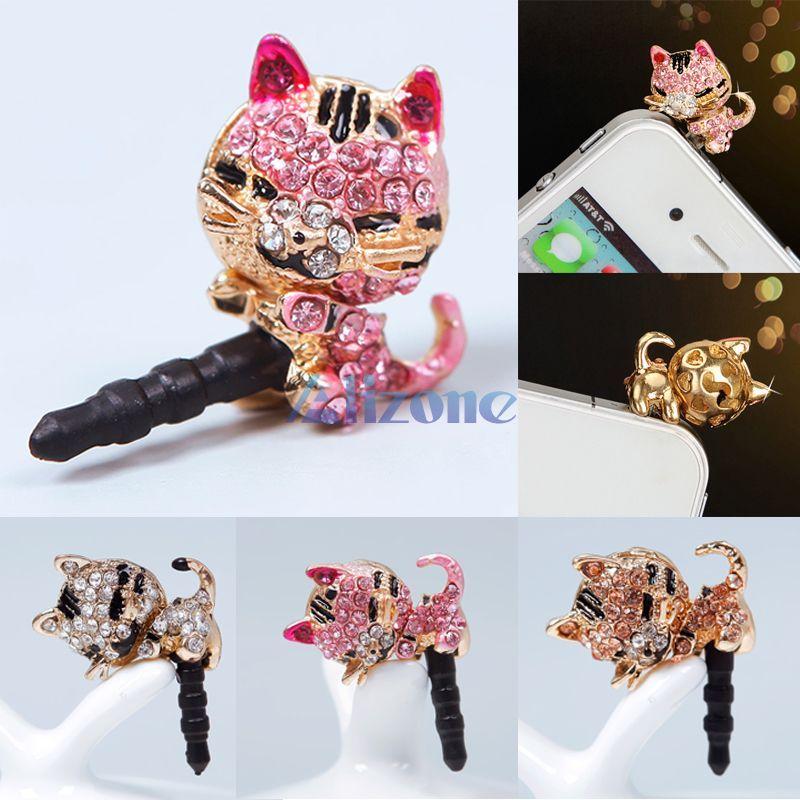 New Cute Diamond Cat Pattern Anti Dust Cap Earphone Plug Plugs For Phone Cell Phone#62684(China (Mainland))