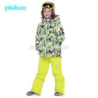 Free Shipping high quality children's ski suit winter clothing set waterproof winter -20-30 DEGREE kid's ski jacket+pants set