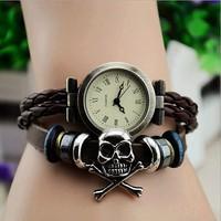 Fashion Luxury Brand Quartz Watch Relogios Femininos Knit Women Dress Watches,Casual Skull Bracelet Wristwatches Relojes Clock
