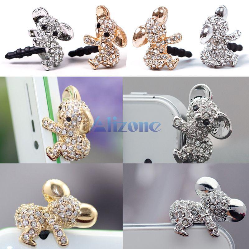 Cartoon Diamond Koala Pattern Anti Dust Cap Earphone Plug Plugs For Cell Phone#62683(China (Mainland))