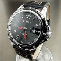 2014 Fashion Casual Curren Analog Watch Leather Strap Sport Men's Watch Round Dial Japan Movement Quartz Watches Men Colck Reloj