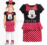 New design children clothing girls fashion Minnie Mouse dress baby girls cute dot princess dress Kids Party Christmas Costume