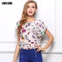 European and American style large size women explosion shirt printing t-shirts bird bat shirt short-sleeved chiffon shirt120201