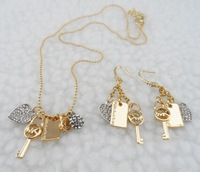 wholesale 3set brand new fashion design Metal necklace Chain earrings & necklace Luxury Kors For Women Jewelry Sets