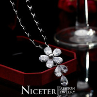 NICETER 18k Real Gold Plated Folower Waterdrop Charm Swiss Cubic Zircon Diamond Pendants Necklace Fashion For Women Gift