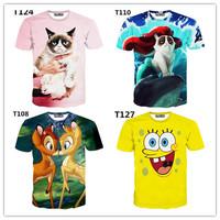 (Alice) Hot 3d clothing new made for t-shirt women Animal/Cartoon print good quality 3D tshirts women's casual t shirt free ship