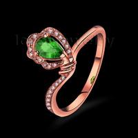 2015 New Wonderful Engagement Tsavorite Ring Pear 4x5mm In 18Kt Rose Gold Natural Diamond Ring WU257