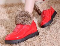 Slip-resistant elevator flat ankle boots female winter big cotton-padded shoes short platform snow boots shoes