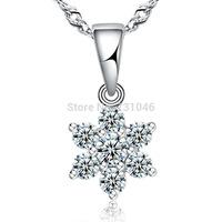 Christmas 925 Sterling SILVER necklace,Princess ELSA Frozen SNOWFLAKE necklace for women,vintage Crystal NECKLACE Zero profit