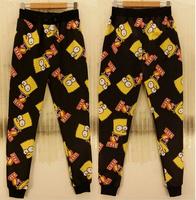 (Alice)free shipping 2015 men/women pants casual Cartoon animal printing Elastic Waist men's Long Length trousers size s-xl P06