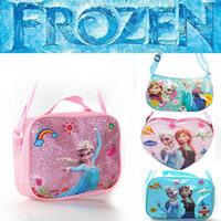 Newest Fashion zipper Messenger bags character Anna Elsa Shoulder Lunch Bag Princess Frozen Kids School Moon Blue Heart Handbag