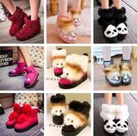 Winter fox cartoon panda snow boots knee-high platform boots flat heel thermal cotton boots
