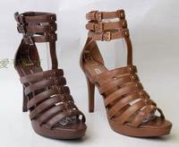 WS5 New 2014 women shoes platform rasteirinhas gladiadora arezzo Sandals cowhide female sandals Spike Heels