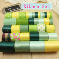 High quality Green and Yellow 36 YDS mixed 36style stain/grosgrain /cotton lace ribbon Diy hairbows combination ribbon set