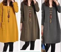 Autumn Winter Fashion Korean Style Women Casual Dress Long Sleeve With Pockets Big Size Bottom Dress