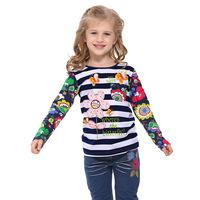 Vestidos infantis 2014 spring new baby clothes girls striped t shirt children's wear trade round neck long sleeve