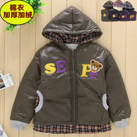 30 male winter child outerwear wadded jacket children's clothing plus velvet thickening cotton-padded jacket cotton-padded