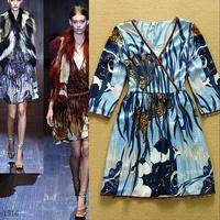 Fashion 2015 fashion ruslana korshunova vintage abstract print sexy V-neck plus size one-piece dress