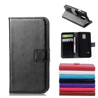 Popular Crazy-horse PU Leather Wallet Pocket Flip Case for Samsung Galaxy S5 Mini 4.5 inch,with Card Holders,10pcs/lot
