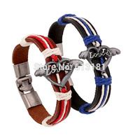 Fashion Couple LOVE Bracelet Jewelry Vintage Alloy Wings Heart Braided Genuine Leather Bracelet Bangles Women Men