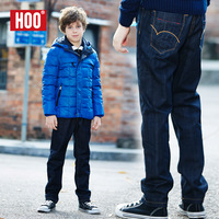 Hoo children's clothing pants male child plus velvet jeans winter child double layer thickening thermal teenage trousers