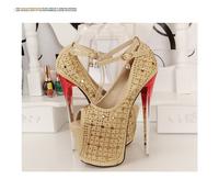 New 2014 18cm heel bottom sexy high heels ankle strap heel bridal shoes,ladies wedding shoes women platform shoes colorful heel