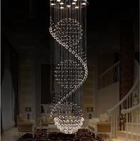 Modern K9 crystal chandelier  rotating staircase duplex villa living room lamp ball Chandeliers
