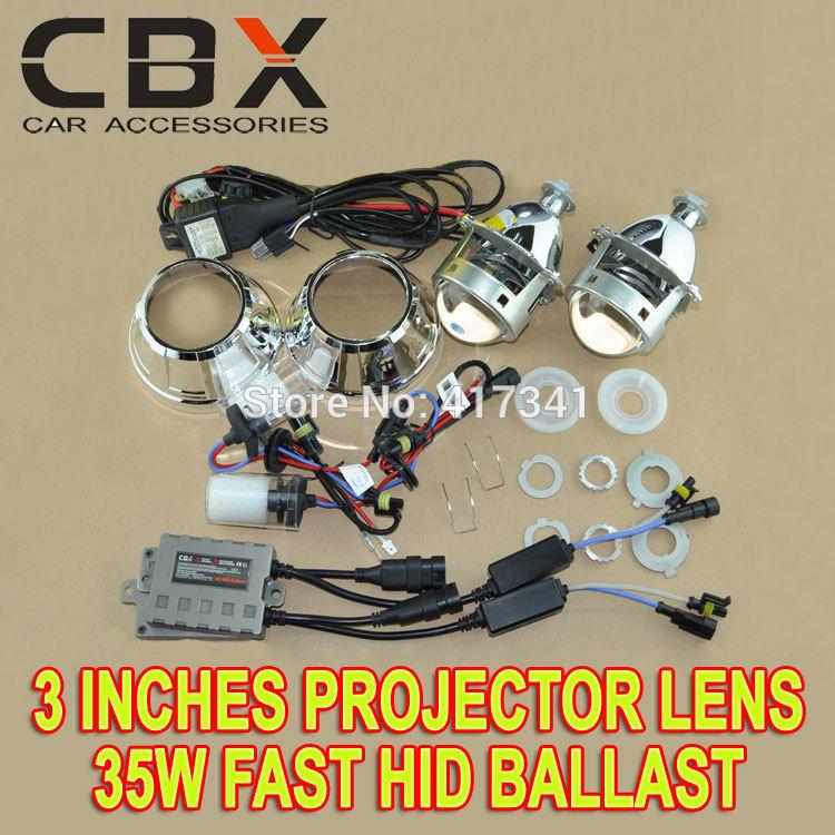 2014 New 3 Inches Metal Bracket HID Bi Xenon Projector Lens Kit 35W Using H1 xenon