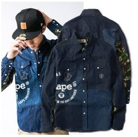 men's fashion casual aape shirt printing stitching camouflage jacket long-sleeved shirt  Fale long sleeve Shirt  free shipping