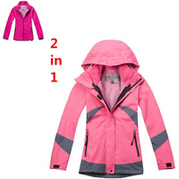 Free shipping,colum brand new winter women outdoor sports jackets breathable waterproof jackets set one fleece with one jacket