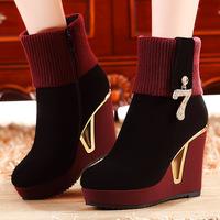 2014 autumn and winter high-heeled short boots Women wedgewinter boots fashion  martin  boots