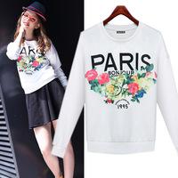 Pullover Paris Flower Printed Sweatshirt For Women High Quality Long Sleeve O-Neck Warm Fleece Moleton Feminino White C169
