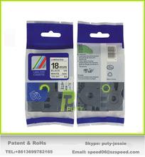 Black on White Label Tape TZ-241 100% Compatible with original TZe-241 18mm 8m tz Laminated tape