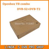2pcs Original Openbox V8 Combo Satellite Receiver DVB-S2+DVB-T2 Support Cccamd Newcamd Youtube Youporn Google Map USB Wifi DLNA