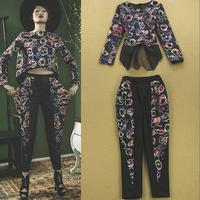 2015 set fashion vintage national trend print top skinny pants female taoku fashion