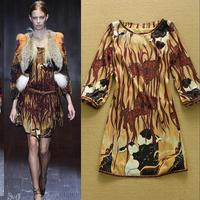 2015 fashion british style vintage abstract print elegant loose plus size one-piece dress