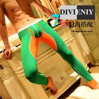 Male long johns thermal legging color block decoration 100% cotton trousers line pants thin