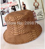 Snakeskin summer bucket hats for men  women hip hop leather sun cap Chocolate