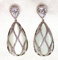 Fashion big water drop cat's-eye stone earrings make you beautiful best jewelry with gift box ALW1633